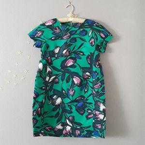 Flower Pattern Green Dress